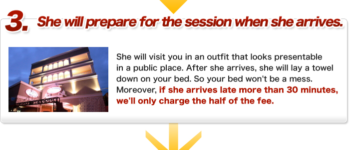 She will prepare for the session when she arrives. Delivery:Girl visits to your room